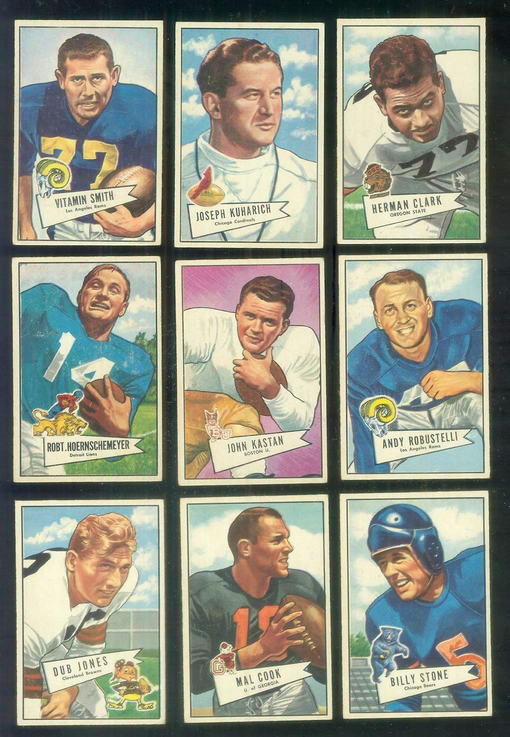 1952 Bowman Small FB #.81 John Kastan ROOKIE (New York Giants) Football cards value