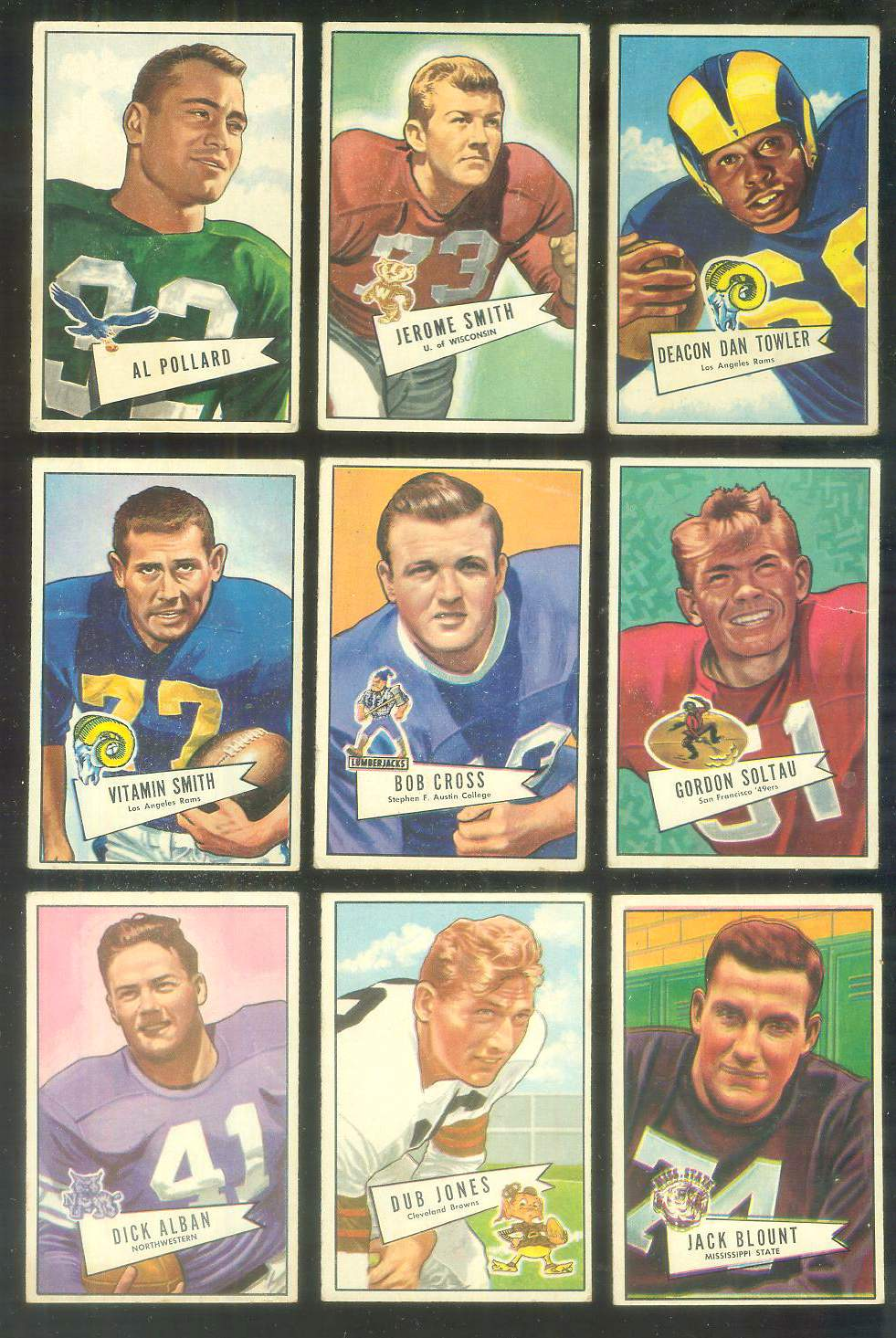 1952 Bowman Small FB #120 Dan Towler (Rams) Football cards value