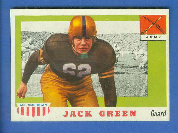 1955 Topps ALL-AMERICAN FB #.53 John F. Green (ARMY) Football cards value