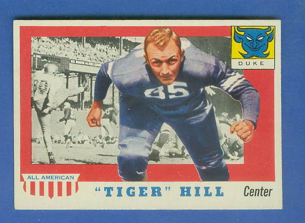 1955 Topps ALL-AMERICAN FB #.60 Dan 'Tiger' Hill [#a] (DUKE) Football cards value