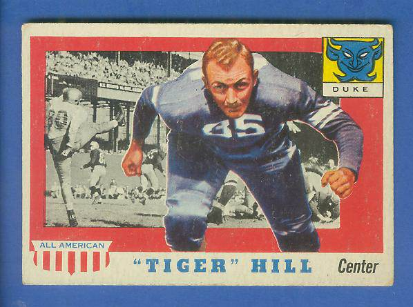 1955 Topps ALL-AMERICAN FB #.60 Dan 'Tiger' Hill [#b] (DUKE) Football cards value