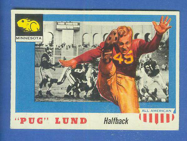 1955 Topps ALL-AMERICAN FB #.79 Pug Lund (Minnesota) Football cards value