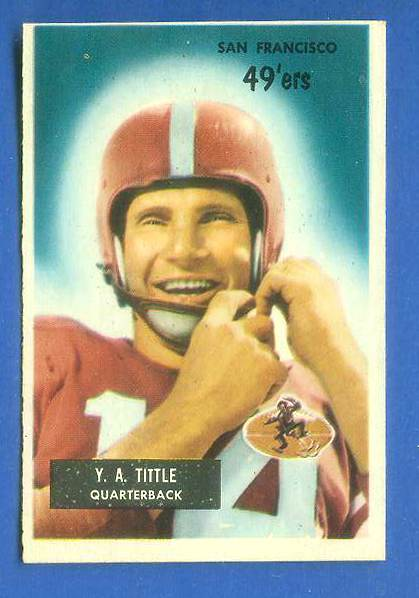 1955 Bowman FB #.72 Y.A. Tittle [#c] (49ers) Football cards value