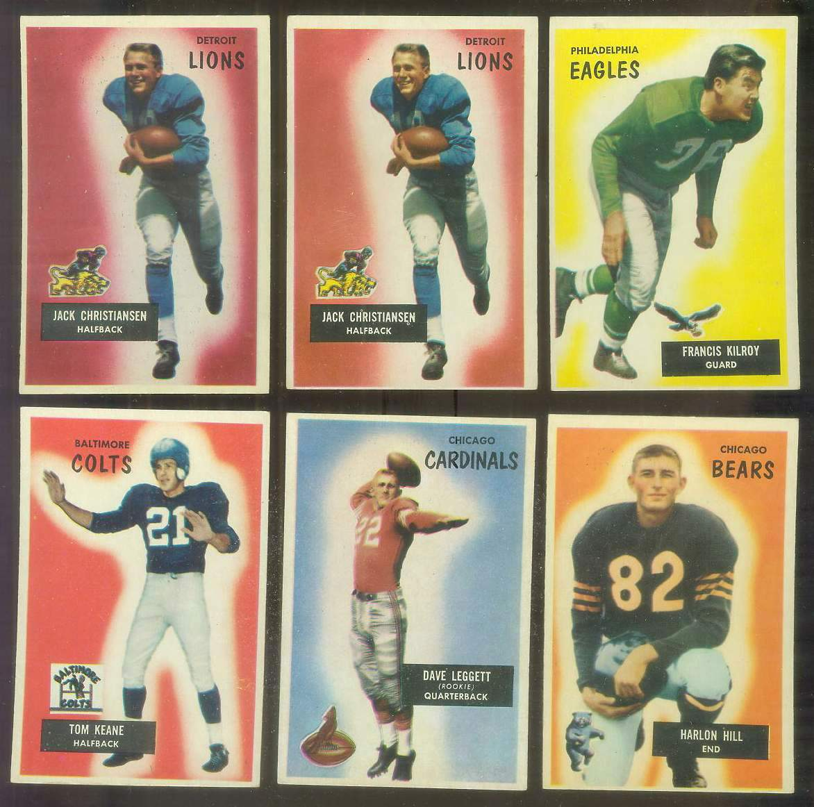 1955 Bowman FB #.28 Jack Christiansen (Lions) Football cards value