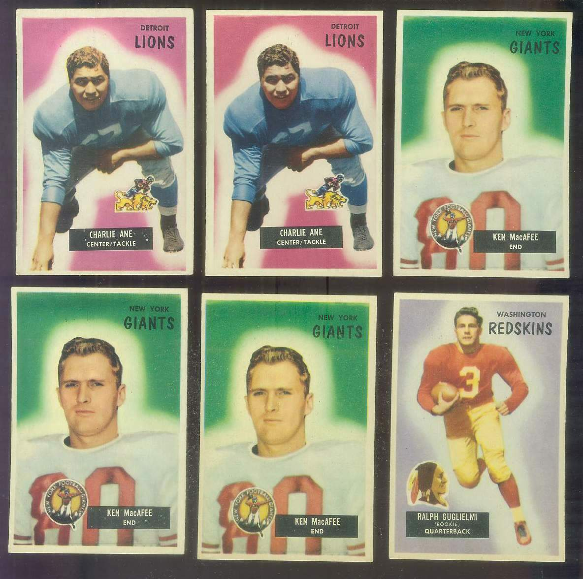 1955 Bowman FB #.59 Charlie Ane ROOKIE (Lions) Football cards value