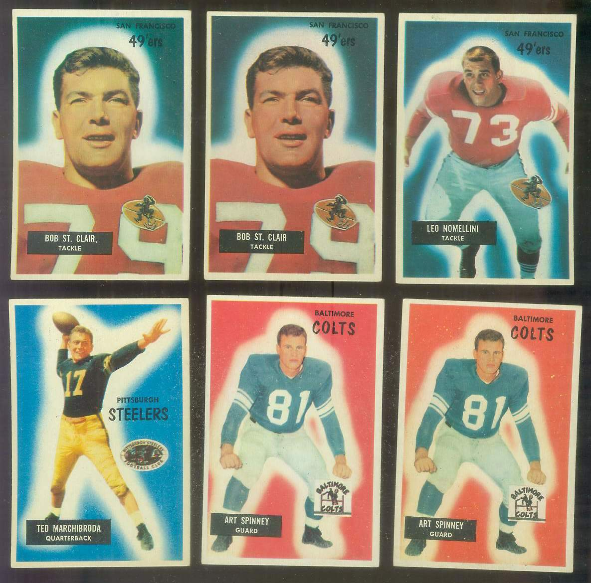 1955 Bowman FB #107 Art Spinney (Colts) Football cards value