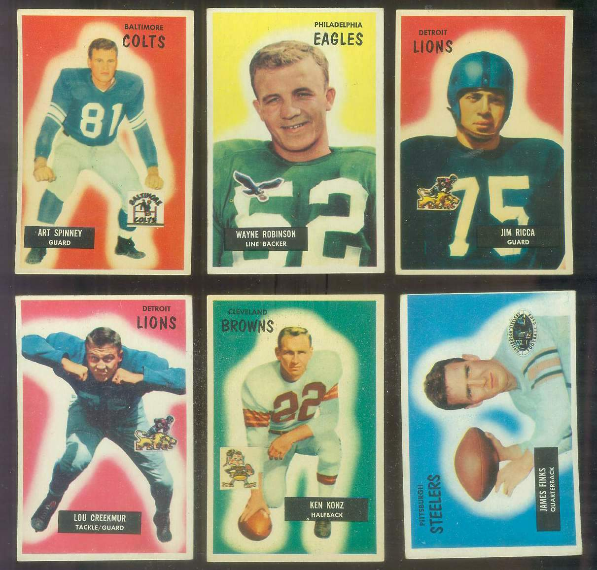 1955 Bowman FB #109 Jim Ricca (Lions) Football cards value