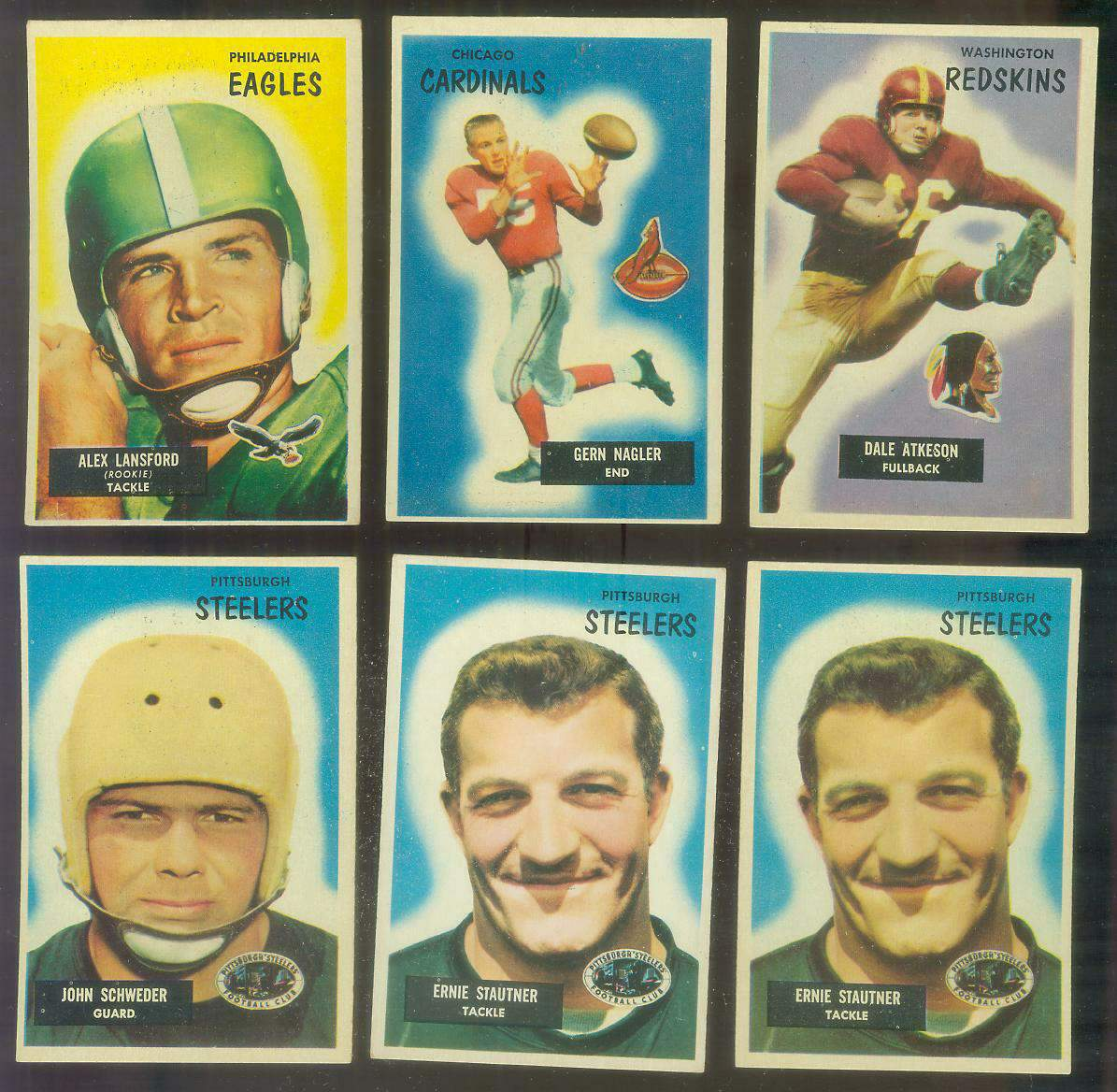 1955 Bowman FB #127 Gern Nagler (Chicago Cardinals) Football cards value