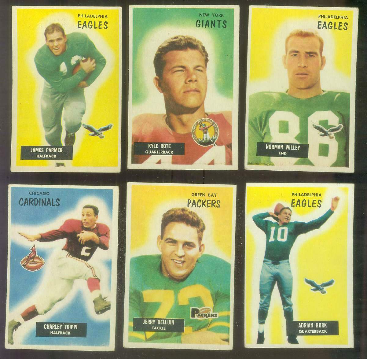 1955 Bowman FB #135 James Parmer (Eagles) Football cards value