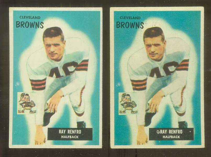 1955 Bowman FB #153 Ray Renfro (Browns) Football cards value