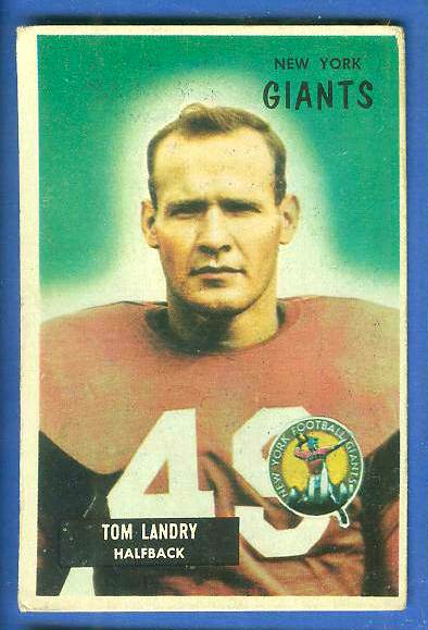 1955 Bowman FB #152 Tom Landry [#asc] (NY Giants) Football cards value