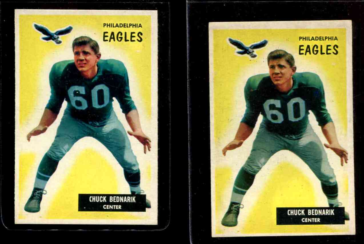1955 Bowman FB #158 Chuck Bednarik [#b] (Eagles) Football cards value
