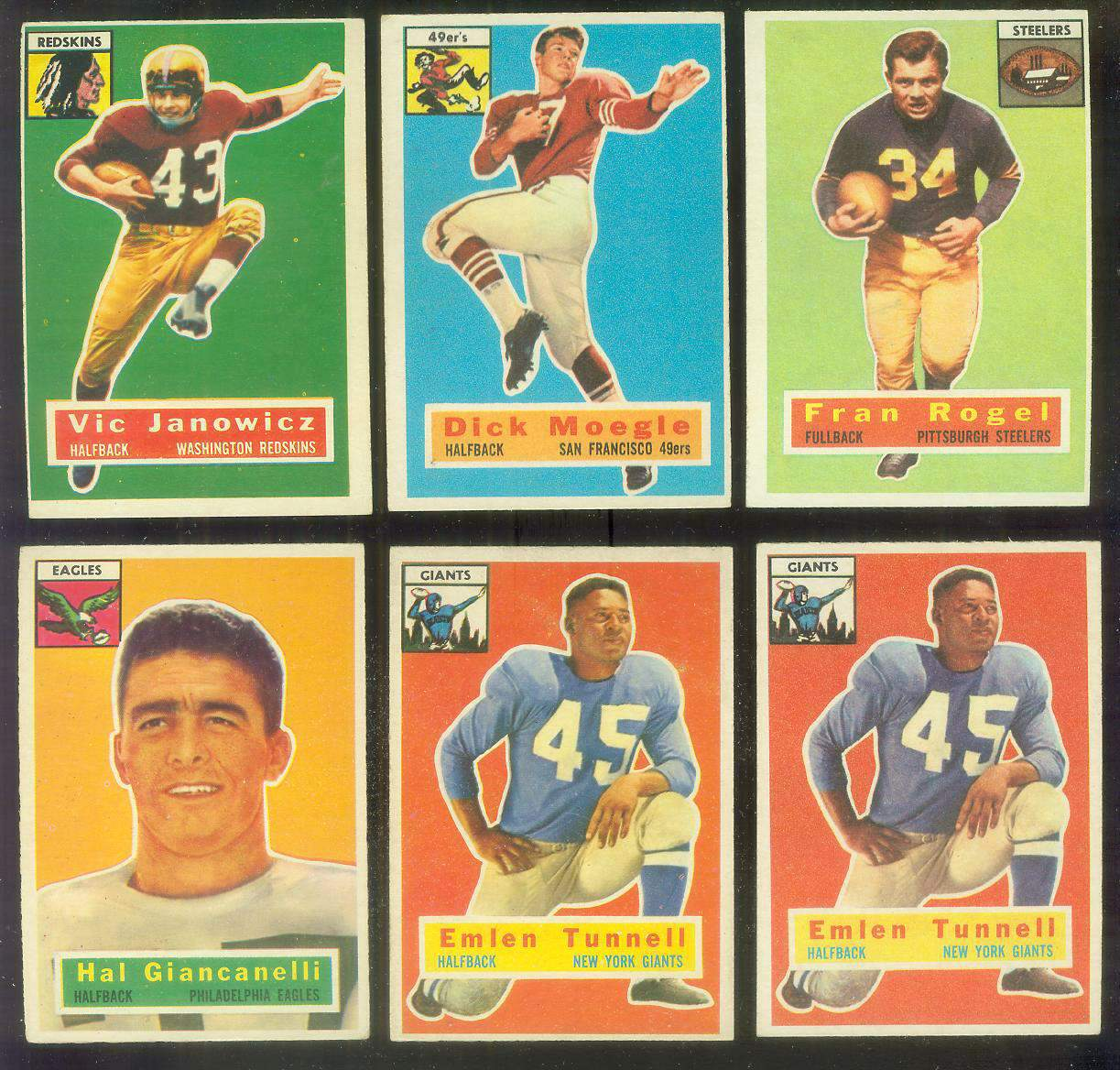 1956 Topps FB #.17 Emlen Tunnell (New York Giants) Football cards value