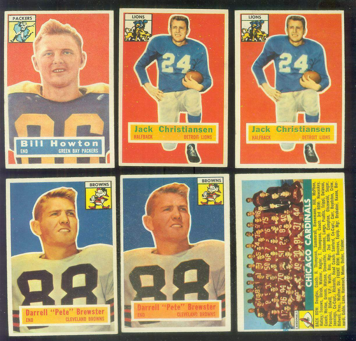 1956 Topps FB # 20 Jack Christiansen (Lions) Football cards value