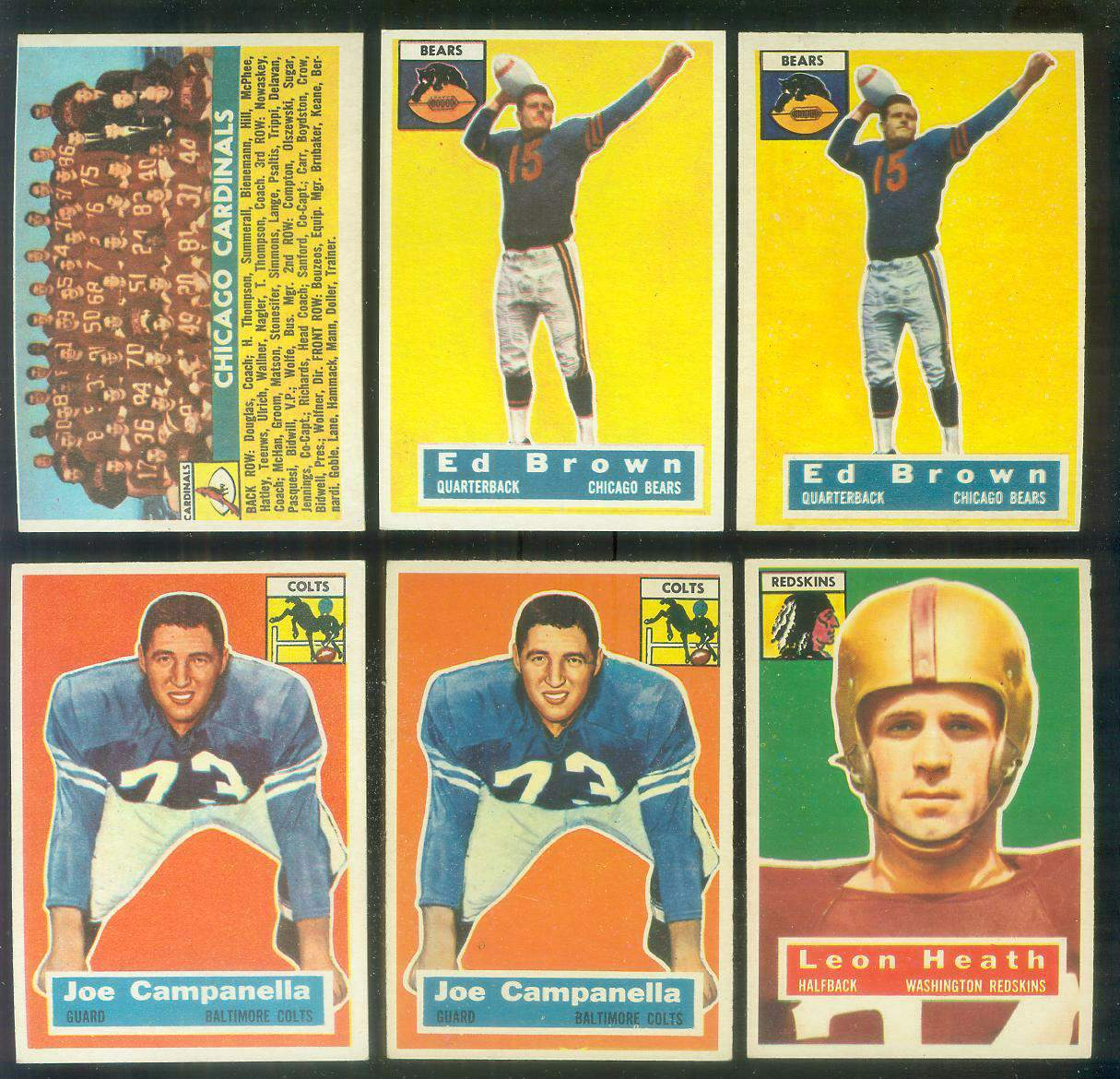 1956 Topps FB #.23 Ed Brown (Bears) Football cards value