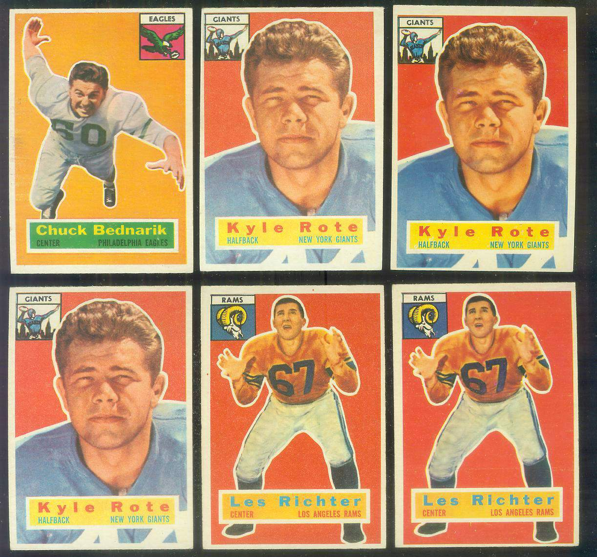 1956 Topps FB #.30 Les Richter (Rams) Football cards value