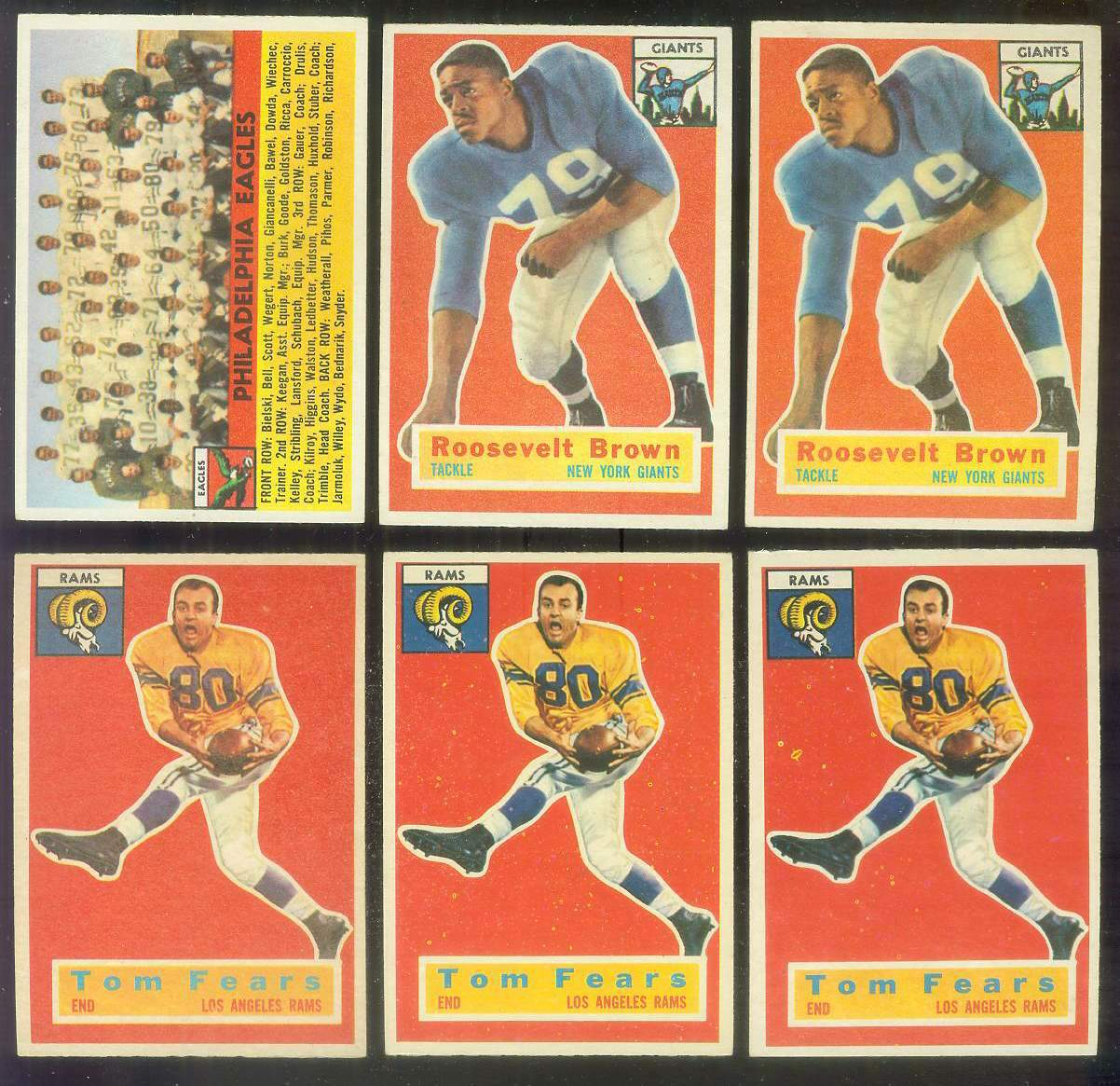 1956 Topps FB #.41 Roosevelt Brown ROOKIE (NY GIants) Football cards value