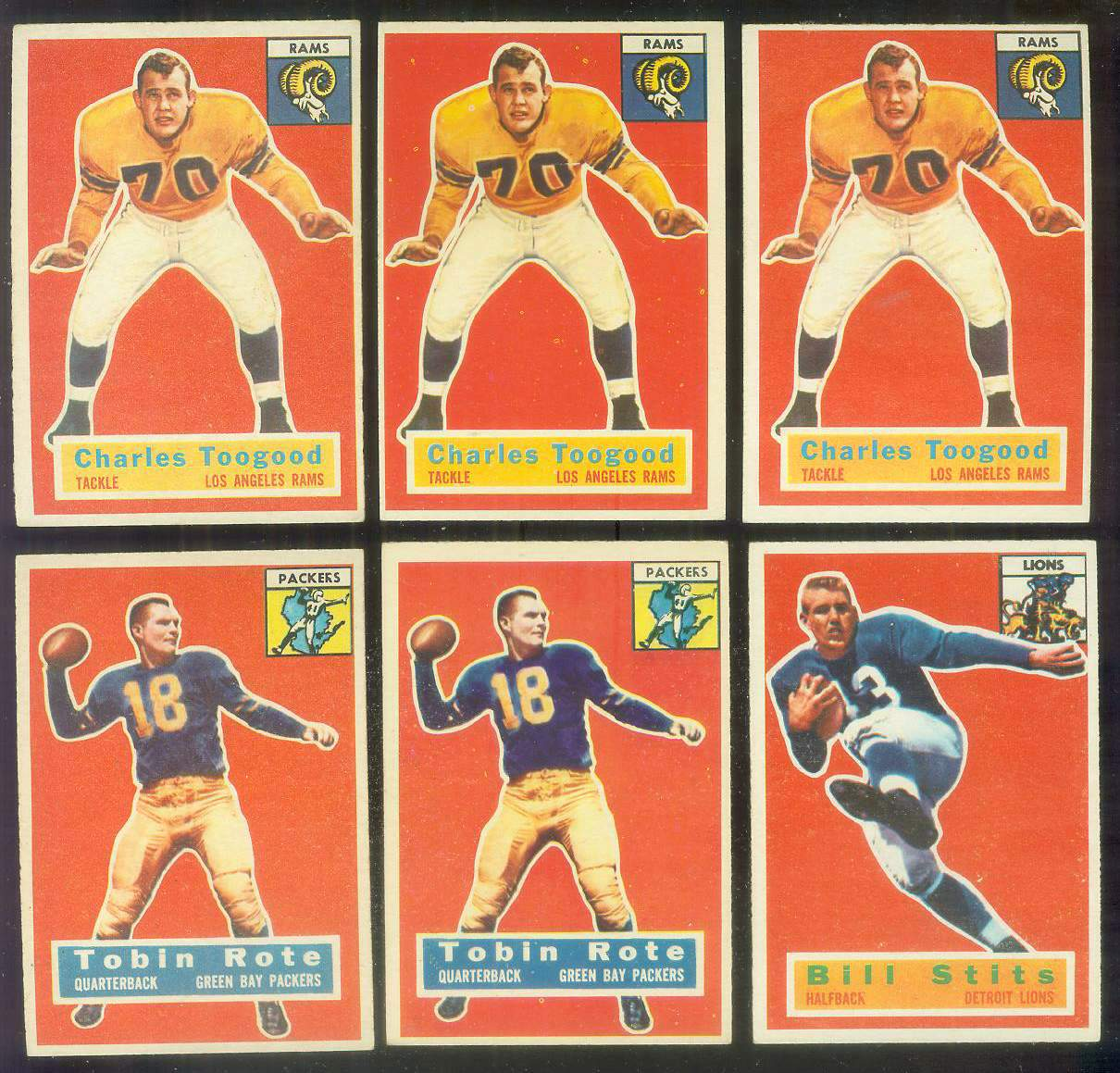 1956 Topps FB #.54 Charley Toogood (Rams) Football cards value