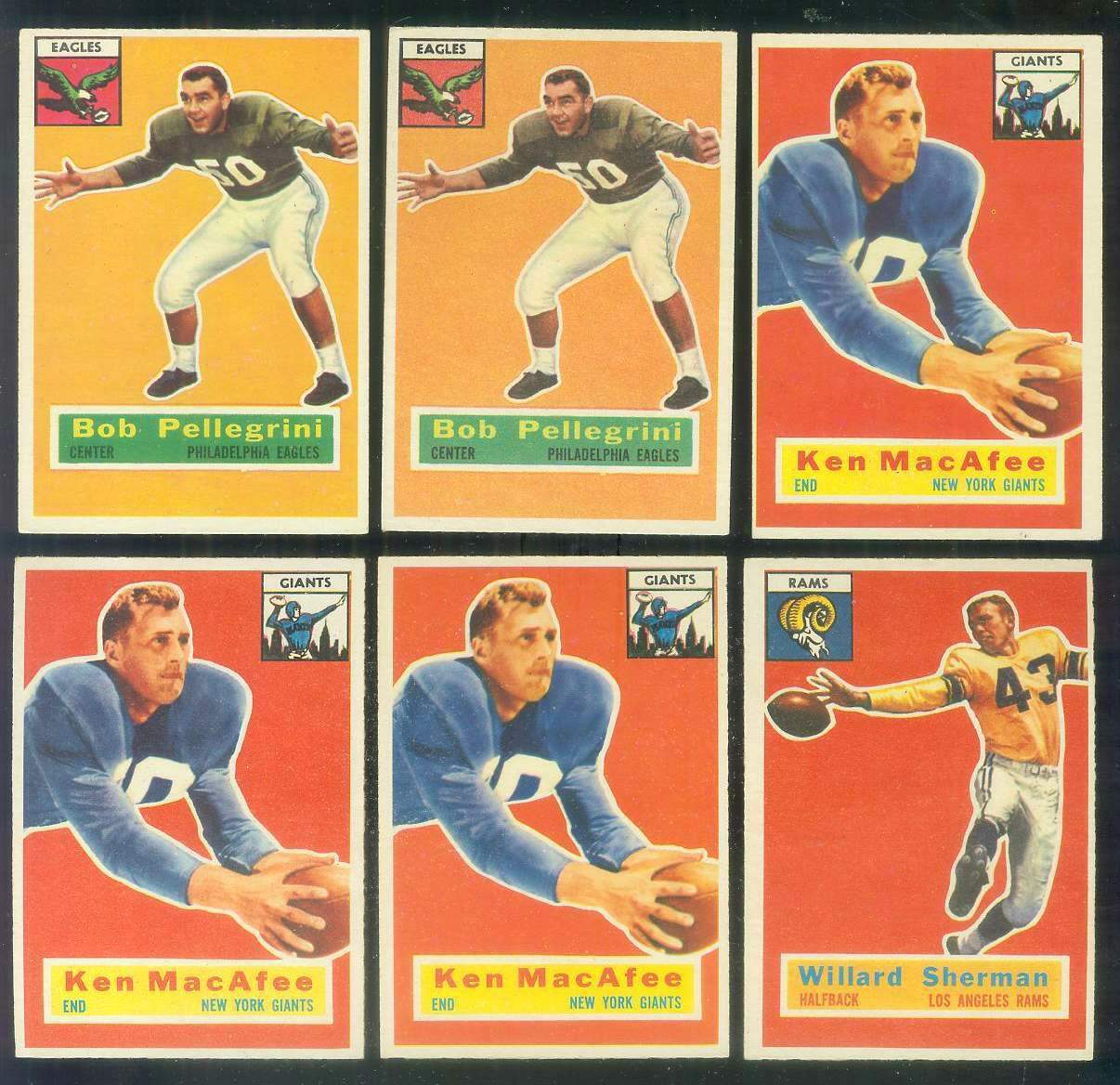 1956 Topps FB #.65 Ken MaCafee (New York Giants) Football cards value