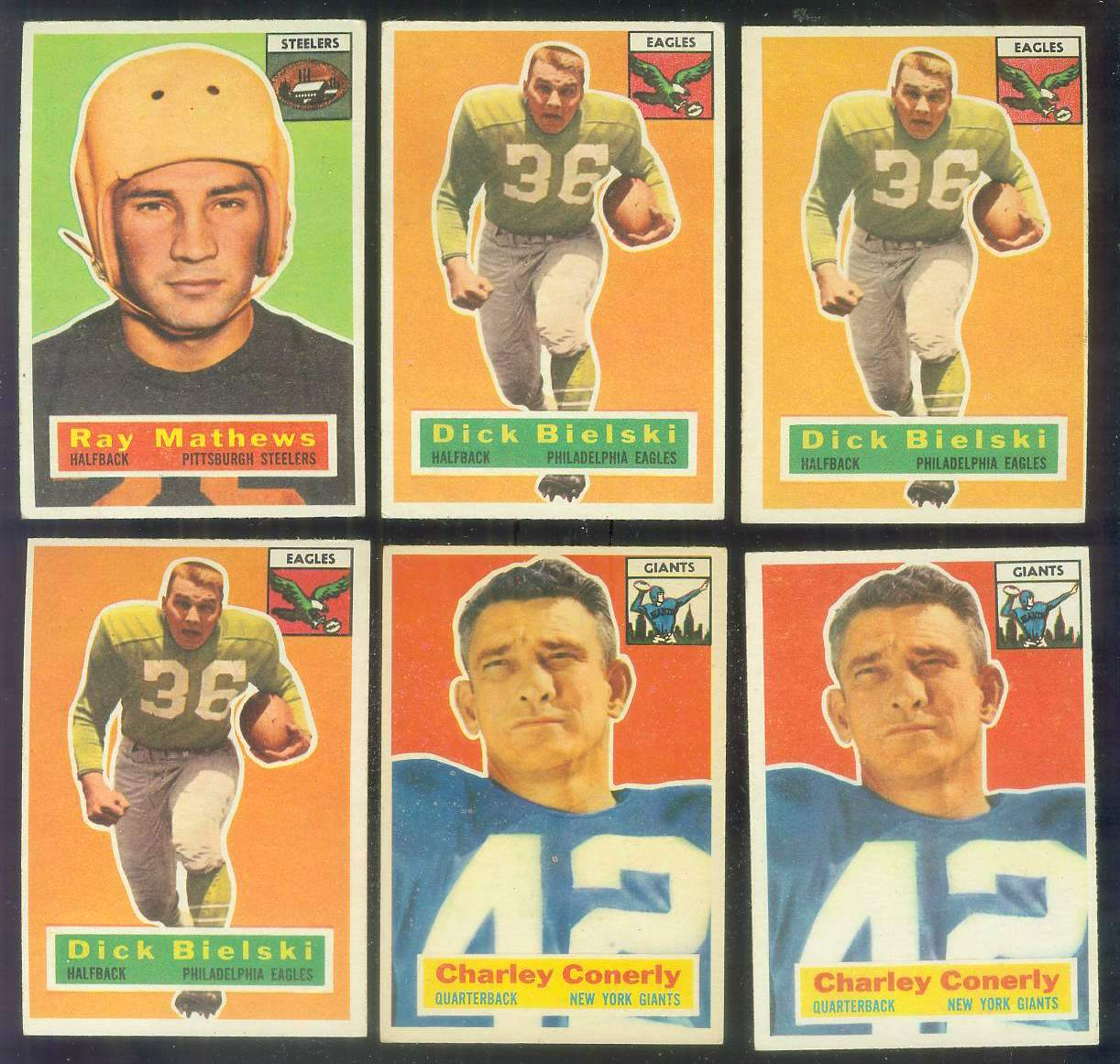 1956 Topps FB #.77 Charley Conerly (New York Giants) Football cards value