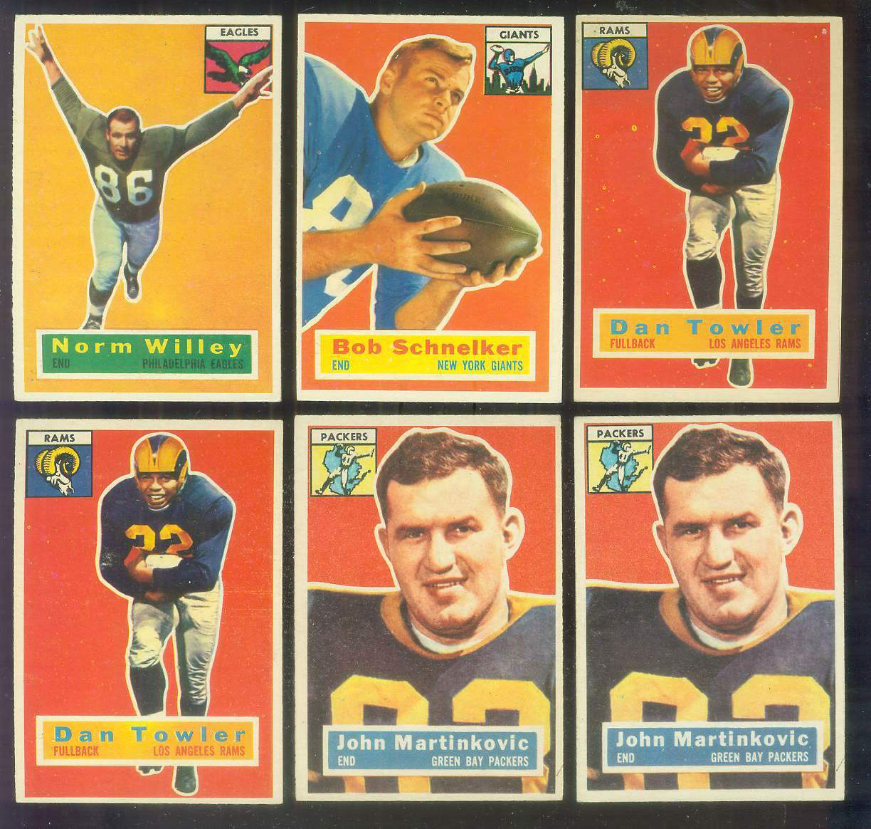 1956 Topps FB #.90 Dan Towler (Rams) Football cards value