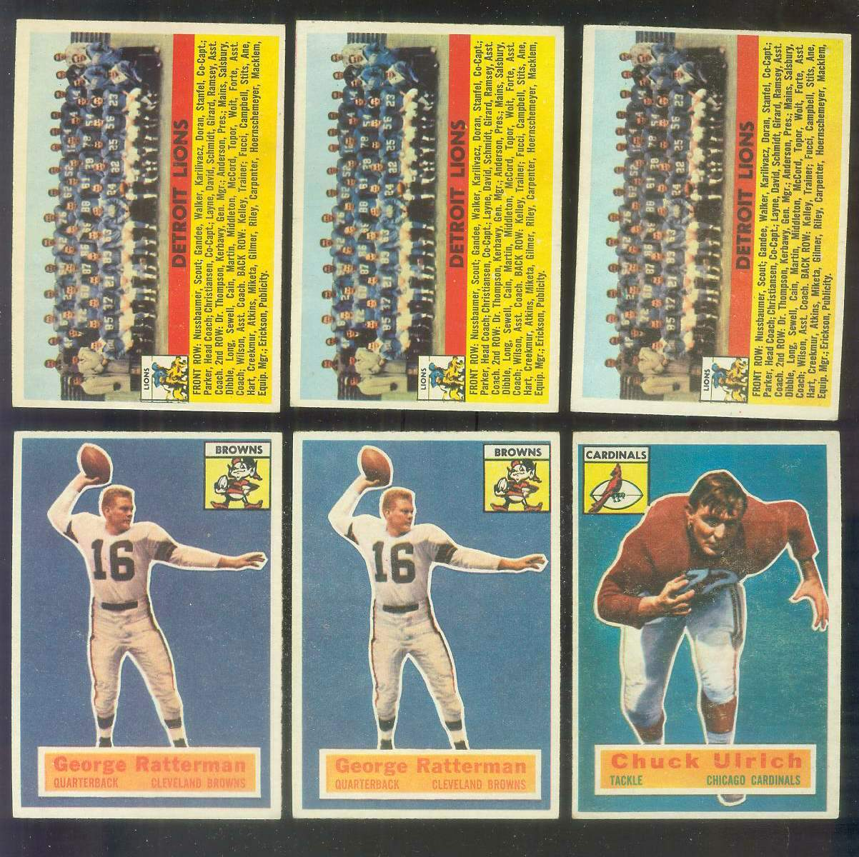1956 Topps FB #.92 Detroit Lions TEAM card Football cards value