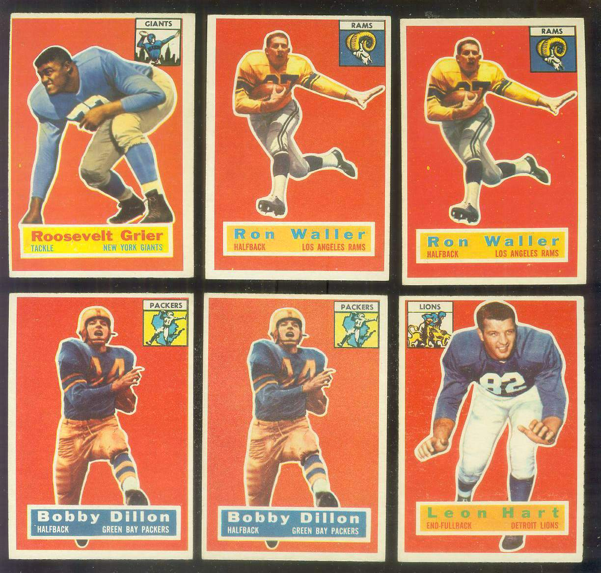 1956 Topps FB #101 Roosevelt Grier ROOKIE (NY Giants) Football cards value
