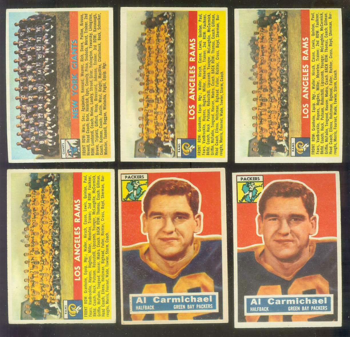 1956 Topps FB #113 New York Giants TEAM card Football cards value