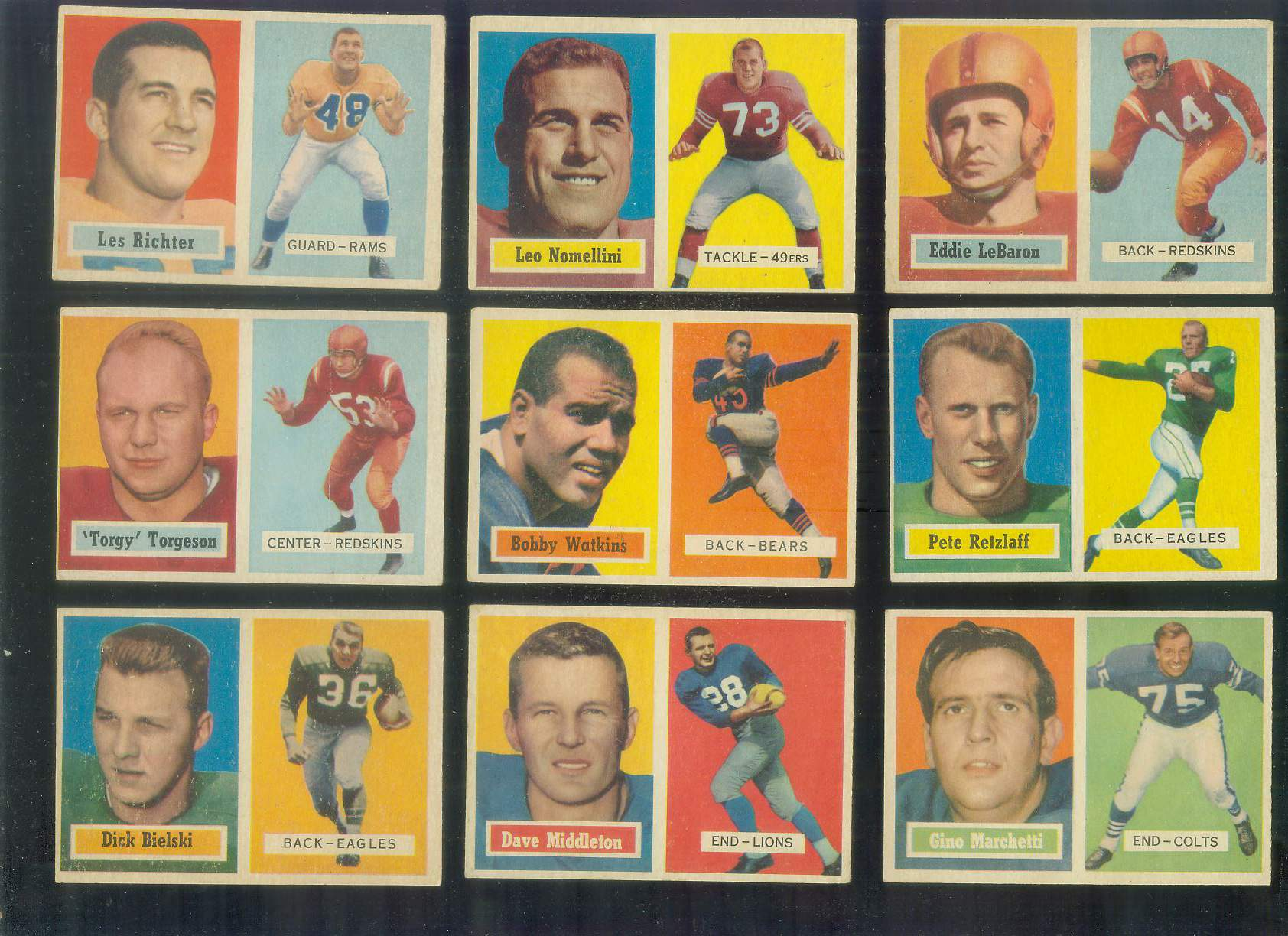 1957 Topps FB #..1 Eddie Lebaron [#x] (Redskins) Football cards value