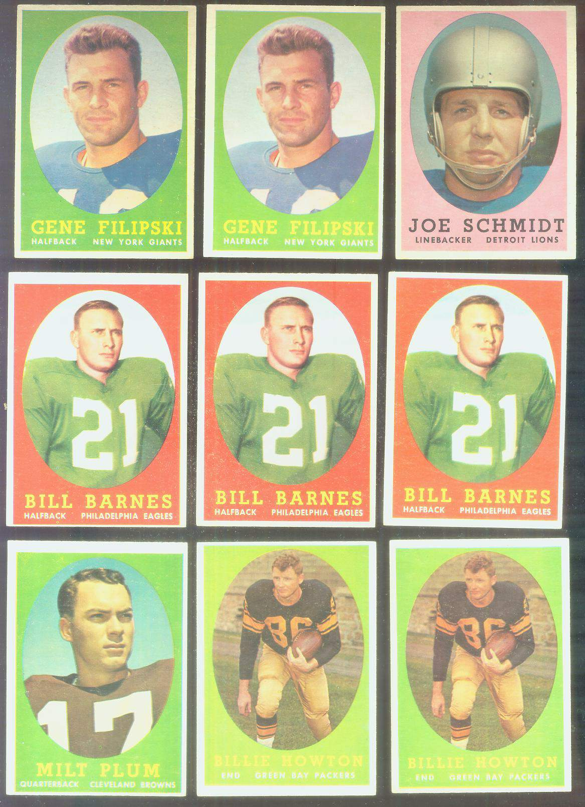 1958 Topps FB #..3 Joe Schmidt (Lions Hall-of-Famer) Football cards value