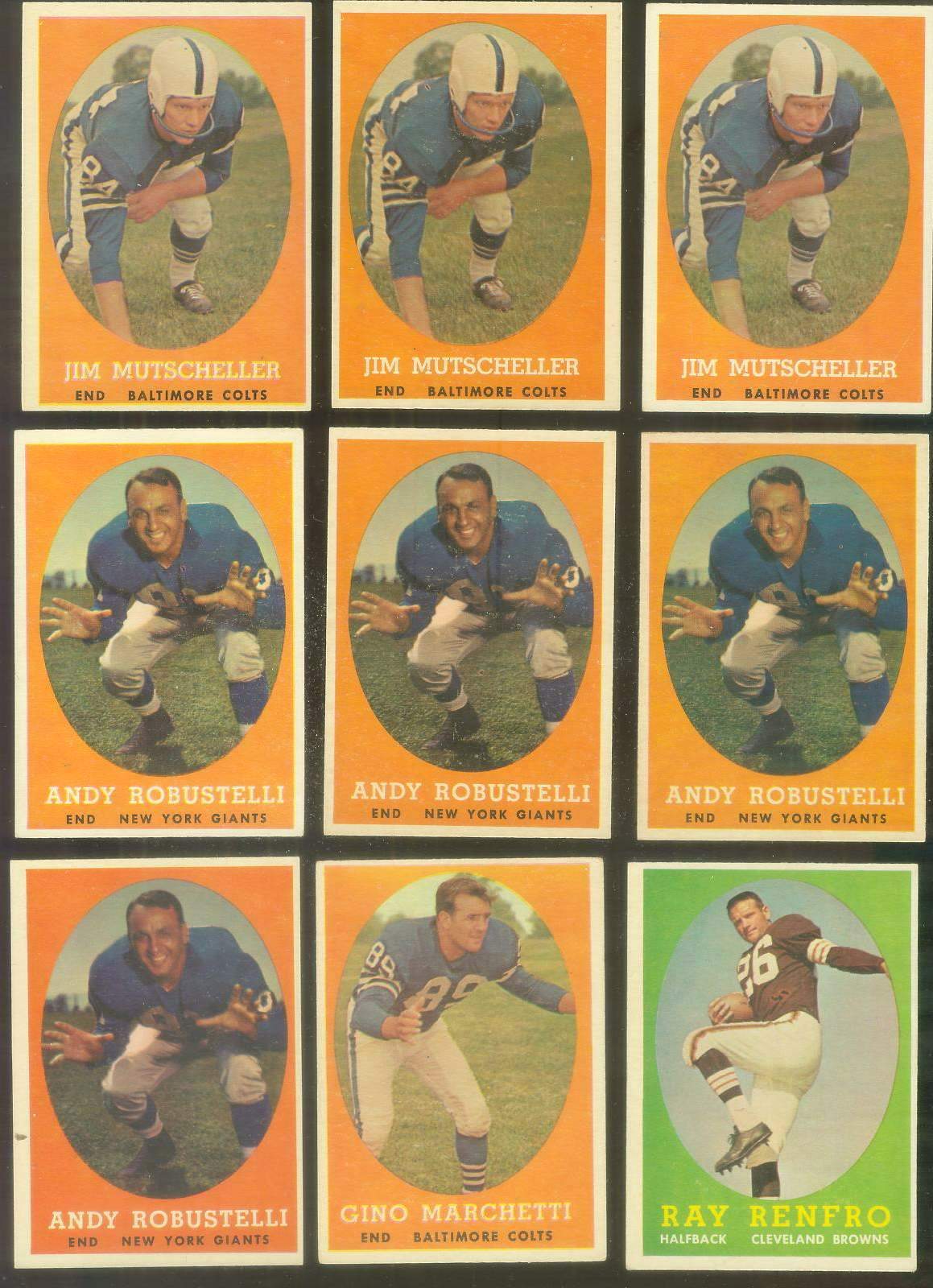 1958 Topps FB #.15 Andy Robustelli (FB Giants Hall-of-Famer) Football cards value
