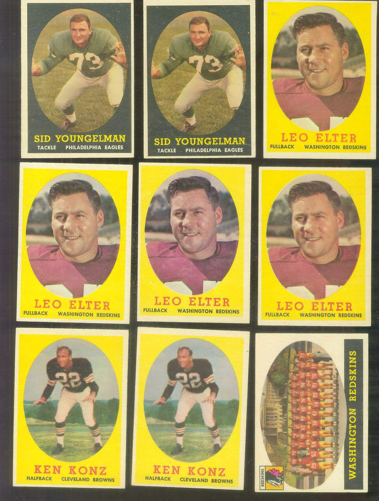 1958 Topps FB #.27 Washington Redskins TEAM card Football cards value