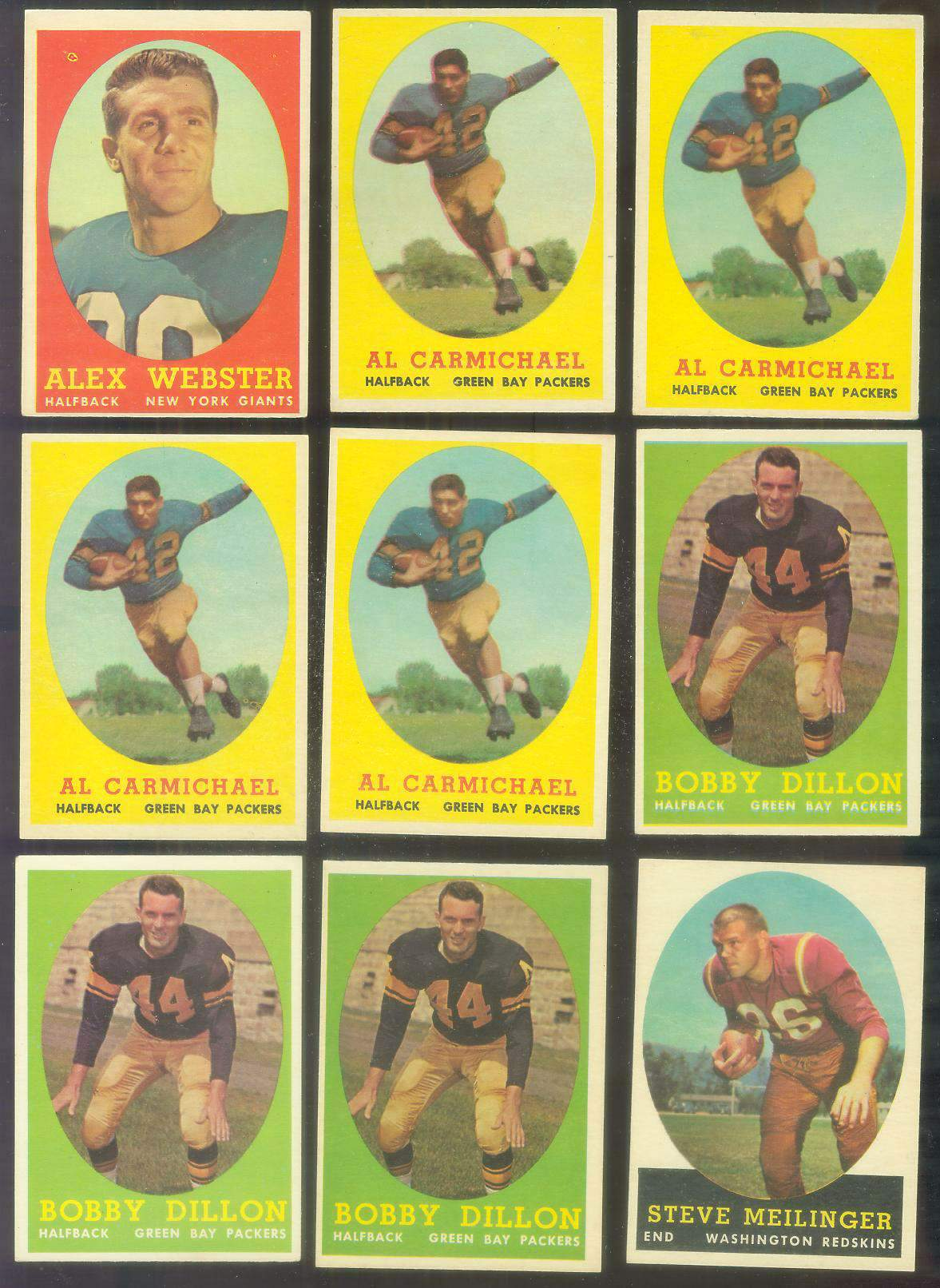 1958 Topps FB #.33 Steve Meilinger (Redskins) Football cards value