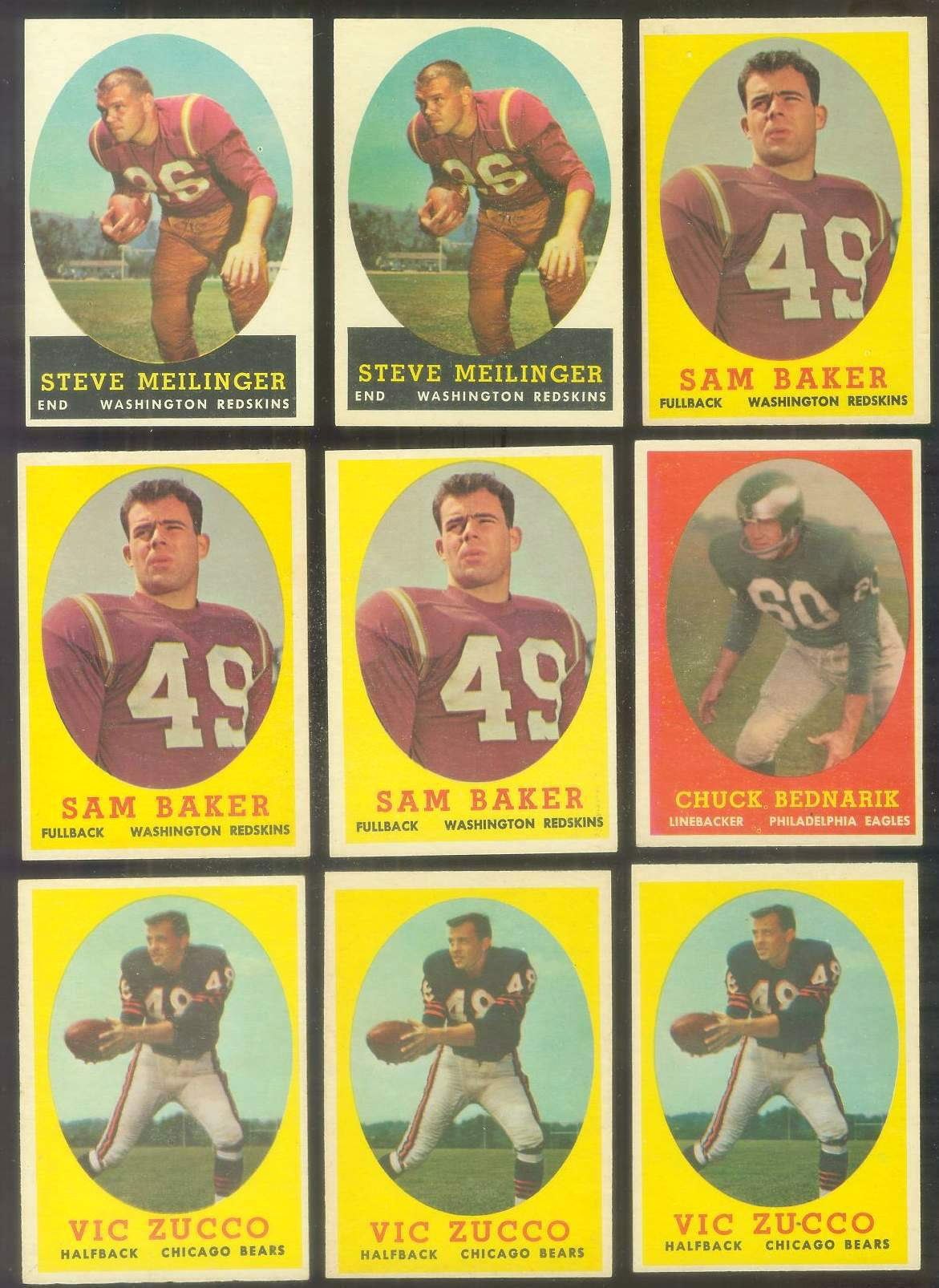1958 Topps FB #.35 Chuck Bednarik (Eagles Hall-of-Famer) Football cards value