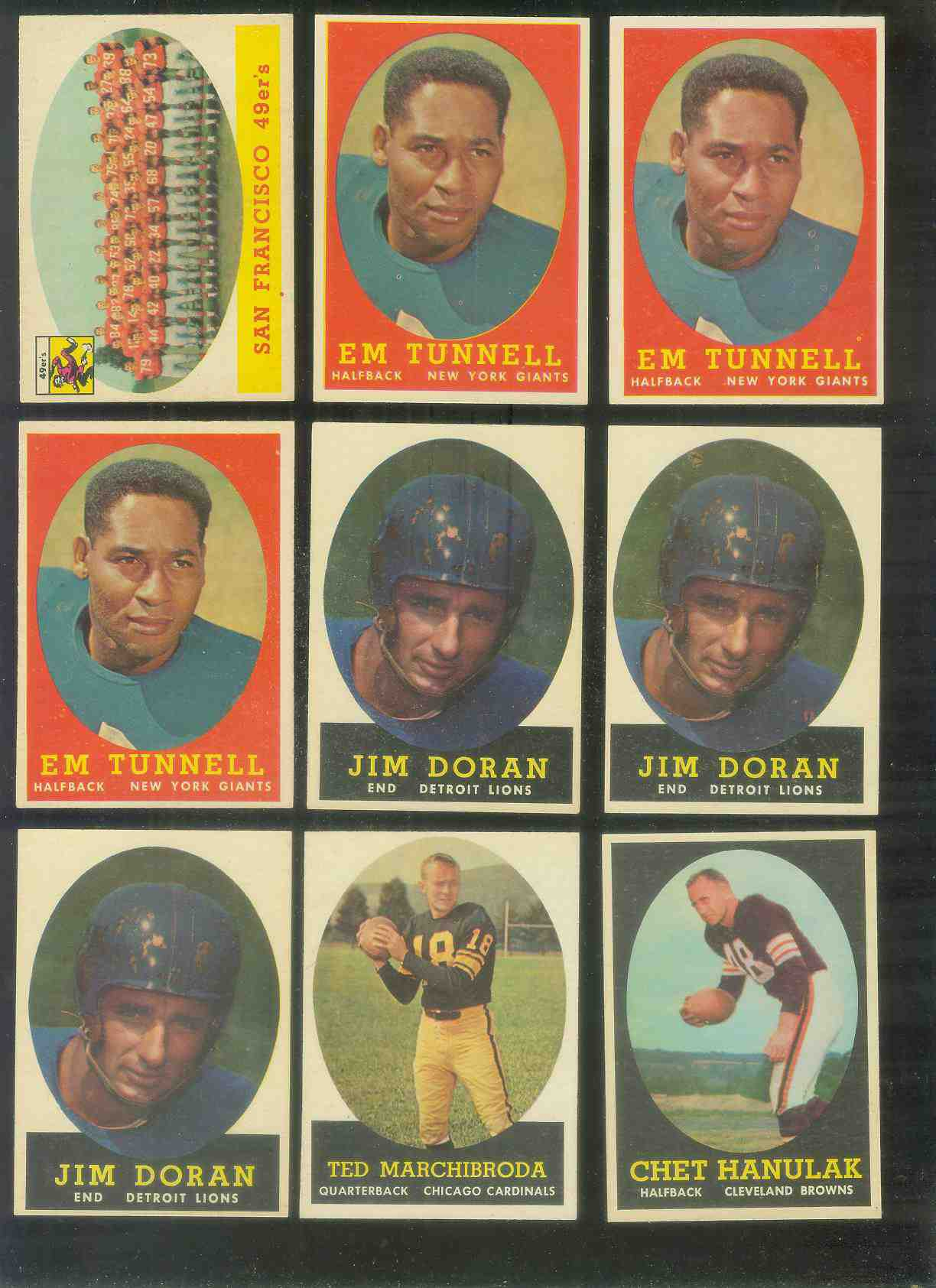 1958 Topps FB #.42 Emlen Tunnell (FB Giants Hall-of-Famer) Football cards value