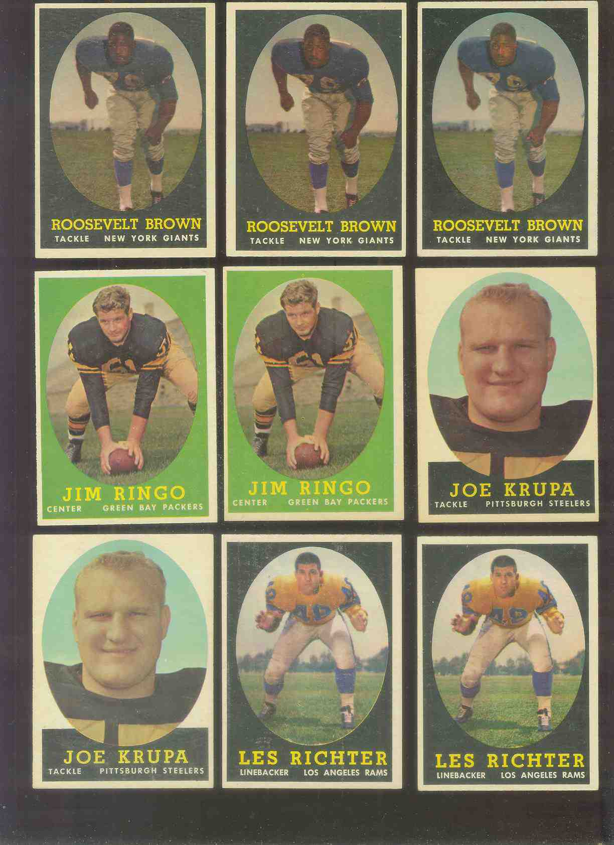 1958 Topps FB #103 Jim Ringo (Packers Hall-of-Famer) Football cards value
