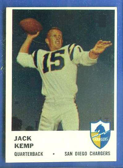 1961 Fleer FB #155 Jack Kemp (Chargers) Football cards value