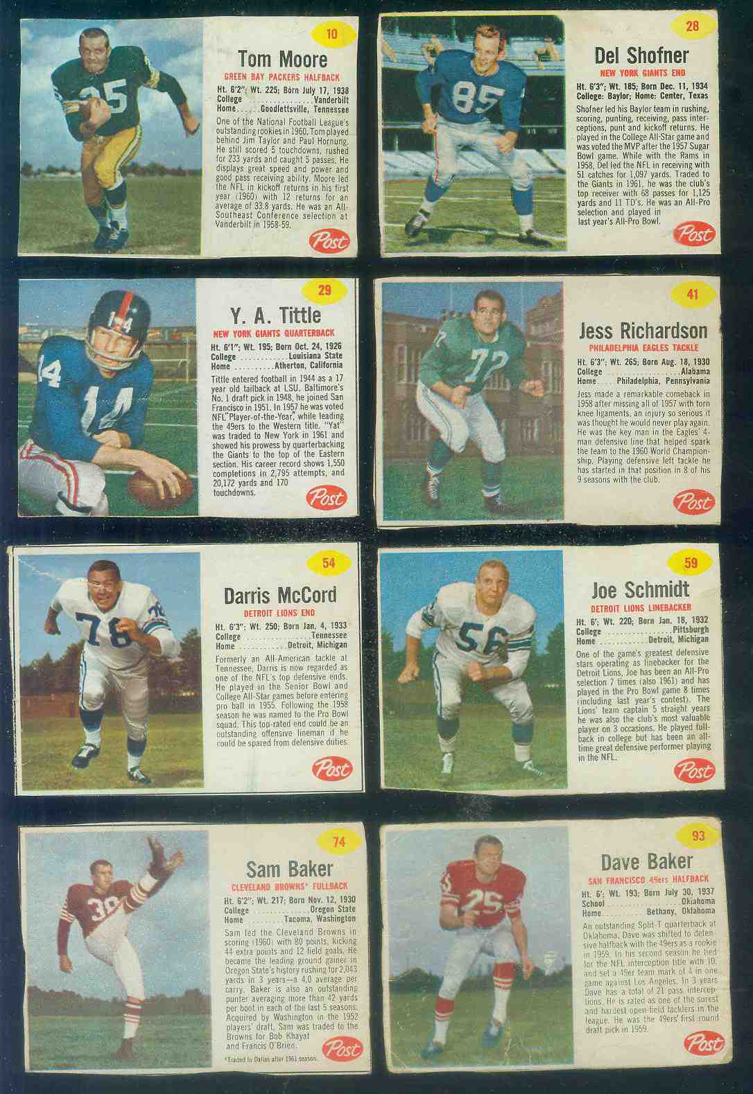 1962 Post Cereal FB #.29 Y.A. Tittle SHORT PRINT (Eagles) Football cards value