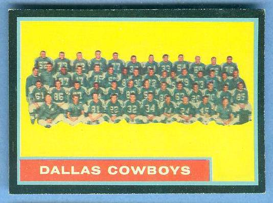 1962 Topps FB #.49 Cowboys TEAM CARD [#a] Football cards value