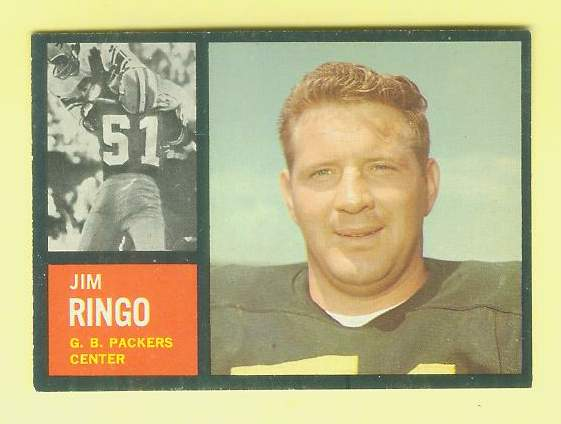 1962 Topps FB #.68 Jim Ringo [#a] SHORT PRINT (Packers) Football cards value