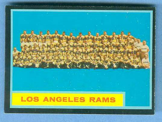 1962 Topps FB #.89 Los Angeles Rams TEAM CARD [#b] SHORT PRINT Football cards value