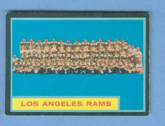 1962 Topps FB #.89 Los Angeles Rams TEAM CARD [#c] SHORT PRINT Football cards value