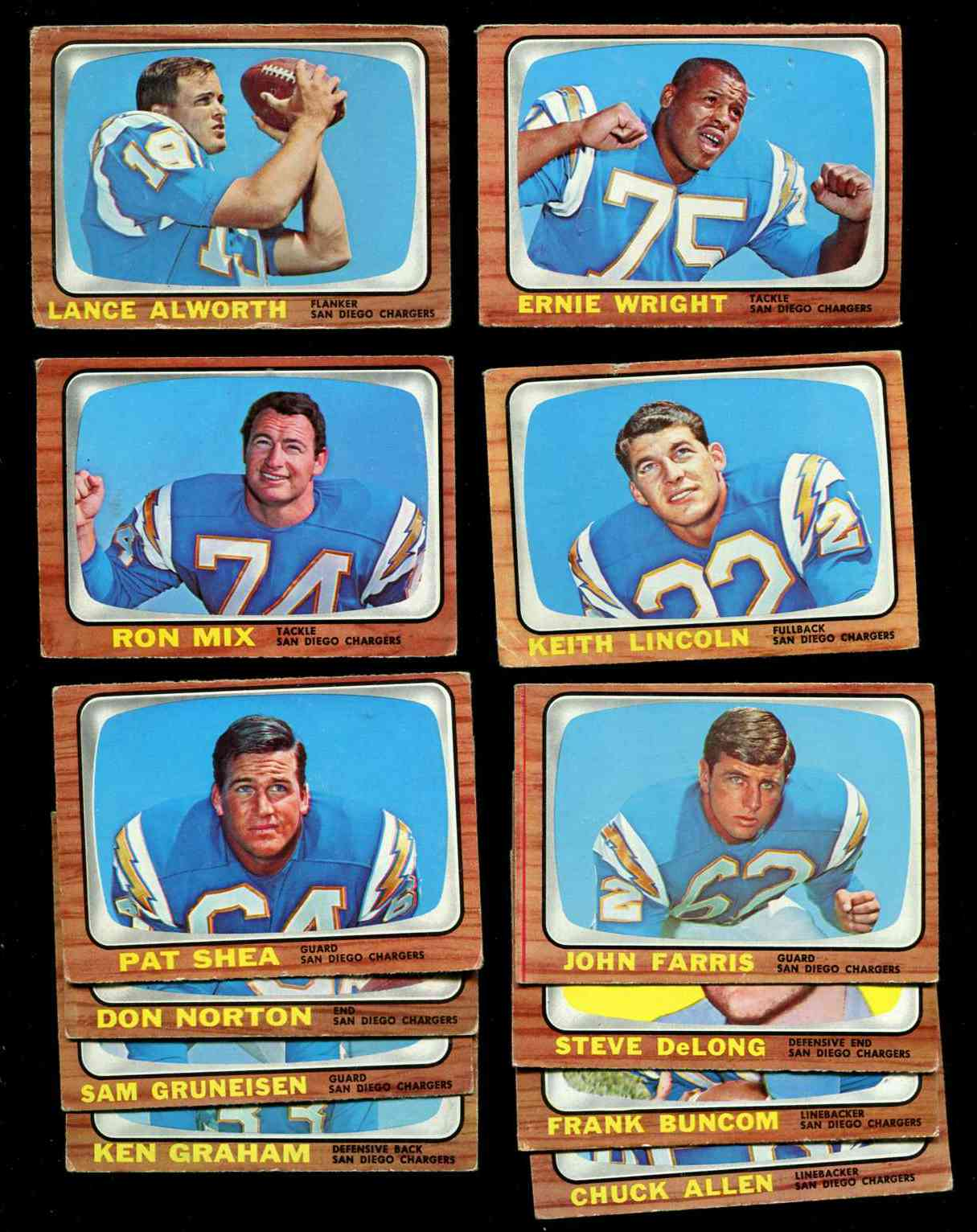1966 Topps FB - SAN DIEGO CHARGERS Team Lot (12) cards [#z] w/Keith Lincoln Football cards value
