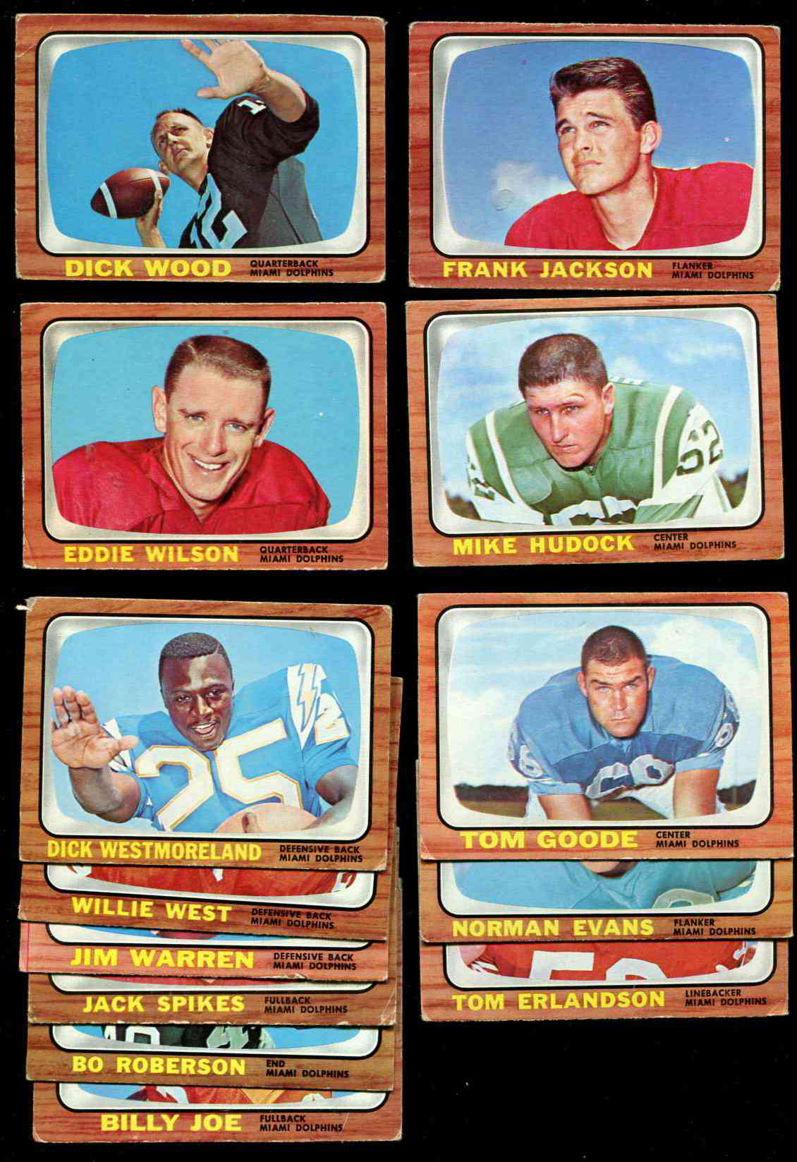 1966 Topps FB - MIAMI DOLPHINS Team Lot of (10) cards [#z] Football cards value