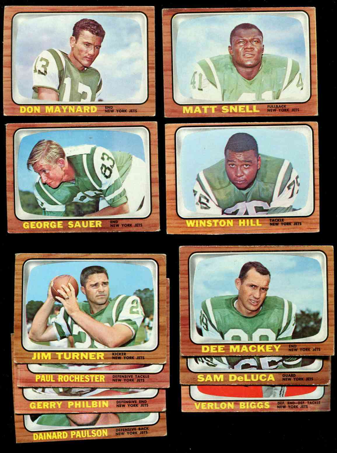 1966 Topps FB - NEW YORK JETS Team Lot (5) [#z] w/George Sauer ROOKIE ($15) Football cards value