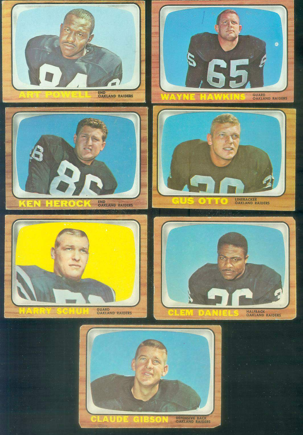 1966 Topps FB - OAKLAND RAIDERS Team Lot of (7) cards [#z] Football cards value