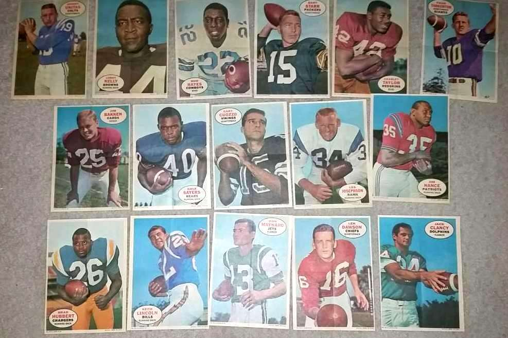 1968 Topps FB Pin-Ups/Posters -  COMPLETE SET of (16) Baseball cards value