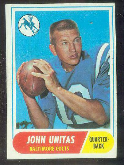 1968 Topps FB #100 Johnny Unitas [#b] (Colts) Football cards value