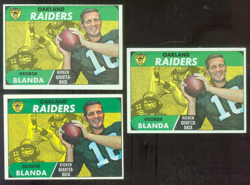 1968 Topps FB #142 George Blanda [#b] (Raiders) Football cards value