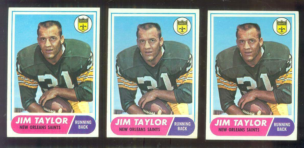 1968 Topps FB #160 Jim Taylor [#b] (Saints) Football cards value